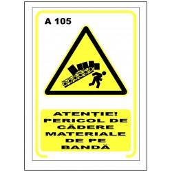 Atentie pericol de cadere materiale de pe banda